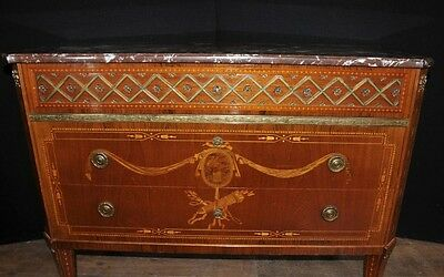 Antique French Empire Chest Drawers Commode Circa 1920 Marquetry Inlay
