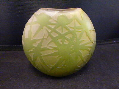 Authentic original French  art glass Galle signed miniature vase green floral