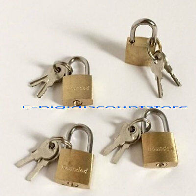 4 Small Metal Padlock Mini Brass Tiny Box Lock Jewelry 2 Keys Luggage/Suitcase