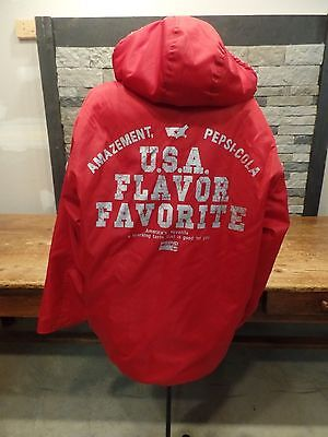 Vintage Pepsi Jacket Coat USA Flavor Flavorite Sherpa Lined Hooded Size Medium