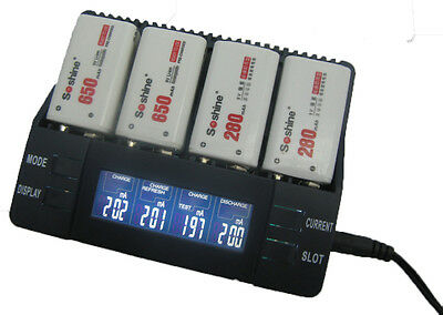 Intelligent LCD Mains Battery Charger Tester Li-ion NiMH NiCd  +UK Adapter
