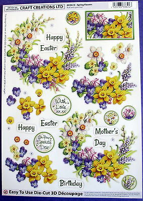 "A4 Die Cut 3D Paper Tole Decoupage ""spring Flowers"" Sheet No Cutting Easy Dcd610"