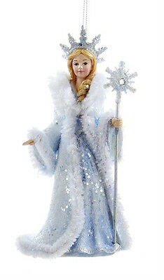 KURT S ADLER FROSTED KINGDOM SNOW QUEEN ICE PRINCESS w/LARGE CROWN XMAS ORNAMENT