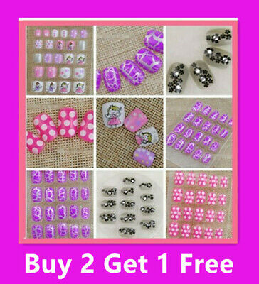 20/24  Girls Kids Designer Acrylic Fake Nails Set With Press On Glue Gift Party