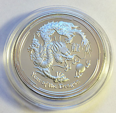 "2012 1 Ounce ""Year Of The Dragon"" Coin Finished in 999 Fine Silver in Capsule b"