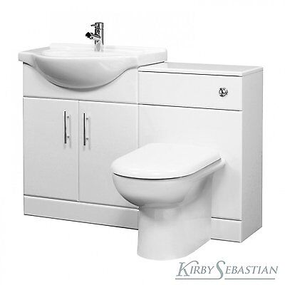1050mm Bathroom Vanity Furniture Set, Gloss White, Basin Unit,Toilet & Cistern