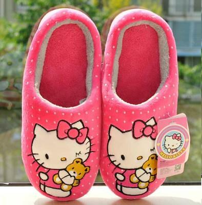 New Cute Hello Kitty Women Winter Home Soft Plush Slippers Shoes (US size 5-8)