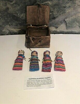 6 Large Worry Dolls in a Banana Box