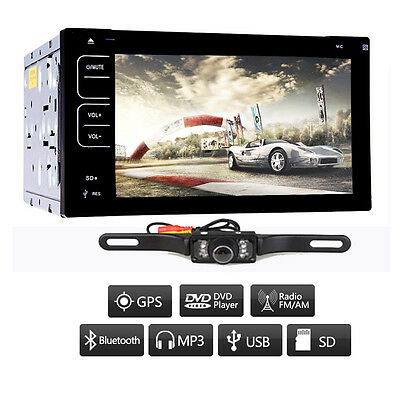 "Camera+Universal Double 2Din HD 6.2"" Car CD DVD Stereo Player Touch Radio USB/SD"