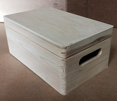 * Natural wood storage crate 30x20x14cm DD164 trunk store display toys beads V