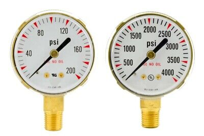 "2"" x 200 PSI & 4000 PSI Welding Regulator Repair Replacement Gauges For Oxygen"