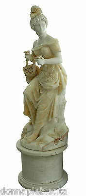 Scultura Statua Dama in Marmo bianco Travertino XXI sec Marble Sculpture H.190cm
