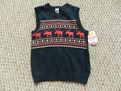 NWT Carter's Boys Black Sweater Vest with Red Reindeer Size 6