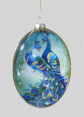 Kurt S. Adler Glass Pair Of Peacocks Disk Christmas Ornament W/ Gold Glitter