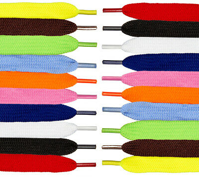 Shoelaces flat coloured pair of shoe laces trainers football boot laces