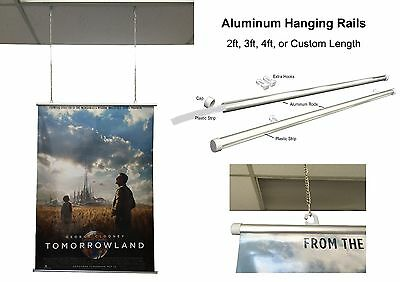 Aluminum Hang Rails for Pliable Graphic Sign Poster in 2, 3,4 ft, Custom Size