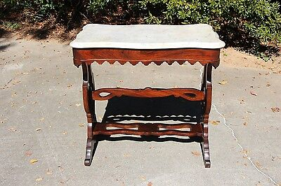 Walnut & Rosewood Victorian Elizabethan Revival Turtle Marble Top Table Ca.1860