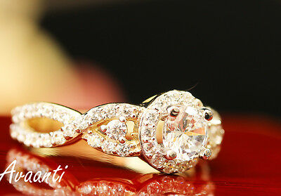 Engagement Wedding Promise Solitaire Ring Halo Set Real 10k Gold Cubic Zirconias