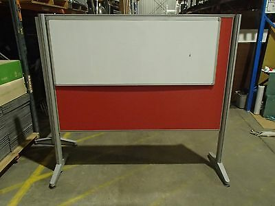 Free Standing Partition with Whiteboard, Red Fabric and Grey Metal 30177/3