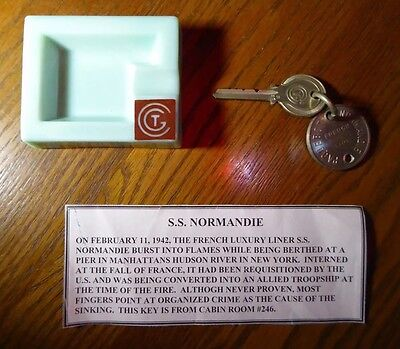 S.s. Normandie Original Main Deck Cabin Key #246 From The Ill-Fated Ocean Liner