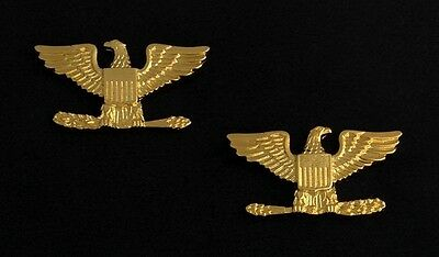 Colonel Eagle Rank Insignia Metal Gold Finish - Small (Pair)