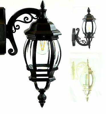 Coach Light 240v E27 IP44 With Globe Traditional Black Beige English Lantern