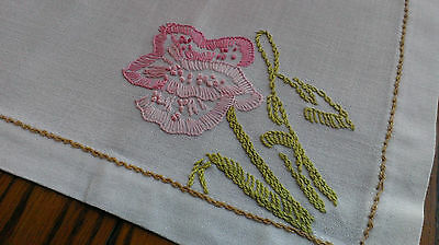 Pair Vintage Hand Embroidered Table Dresser Runners White & Pastel Blooms