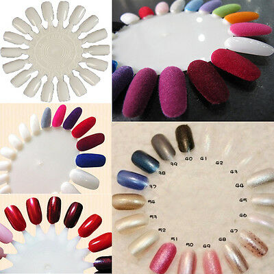 10 X Nail Art Round Practice Wheels Salon Display Polish Acrylic Make Up Tips