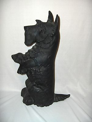 Vintage Black Cast Iron Metal Scottish Terrier Scotty Dog Statue Door Stop