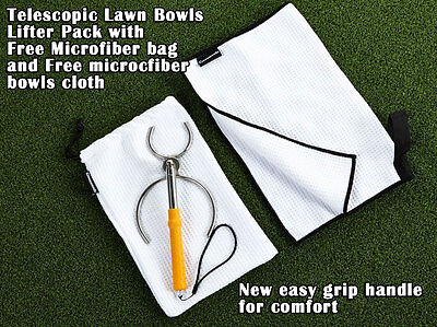 Telescopic Lawn Bowls Lifter Stainless Steel With Extra Comfort Rubber Handle