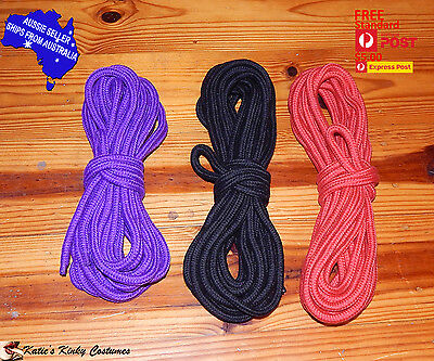 Katie's Shibari Kinbaku Rope Cotton 10 metre Black Red Purple