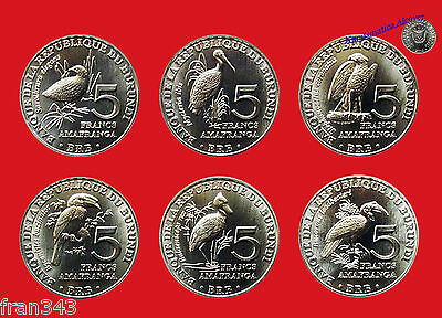 BURUNDI SET OF 6 x 5 Francs AFRICAN BIRDS COINS 2014 2015 - UNC