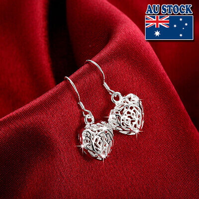 Classic Stunning 925 Sterling Silver Filled Filigree Heart Hollow Earrings
