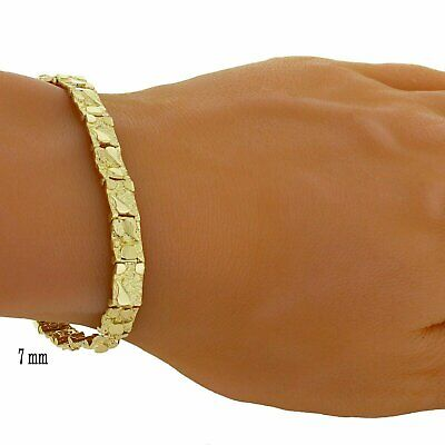 """New Solid 14K Yellow Gold Nugget Style 8"""" Adjustable Bracelet 6.6 mm 16.7 grams"""