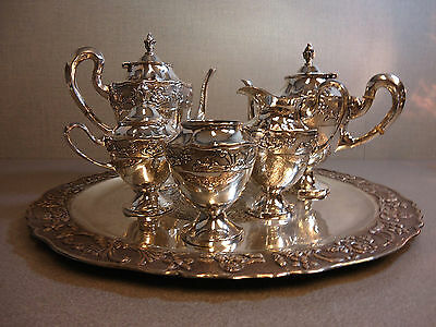 Mexican 900 Silver 5 Piece Tea Set with Tray