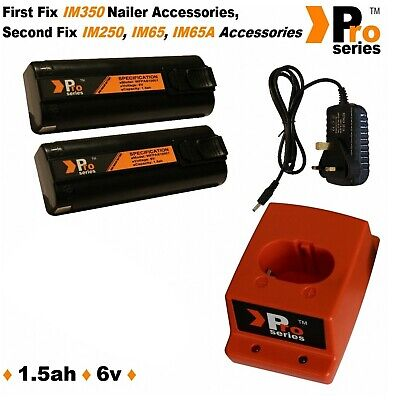 2xProSeries Batteries for Paslode IM65 +Wall Charger+Base+In Car Charger