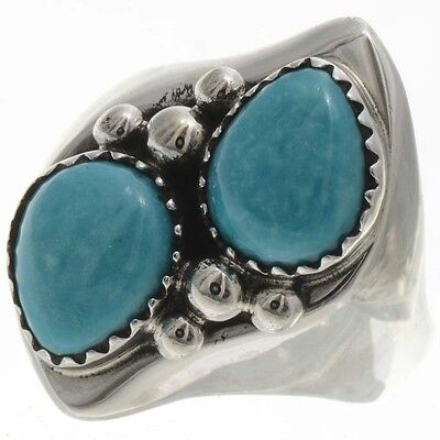 Ladies Two Turquoise Teardrops Silver Navajo   Ring  Sizes 6 To 10-1/2