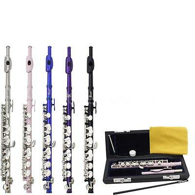 New Silver purple Pink Cupronickel C Piccolo with Case Cloth + Padded Box AH7I