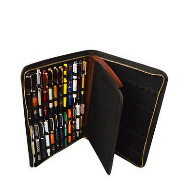 Fountain Pen Case Storage Bag For 48 Pens Leather Coffee Brown GSV