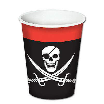 8 ct  Black PIRATE Skull & Crossbones  9 oz hot/cold Paper Cups Birthday Party T