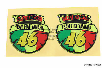 Reflective domed team fiat yamaha 46 decal sticker for motorbike, motor racing