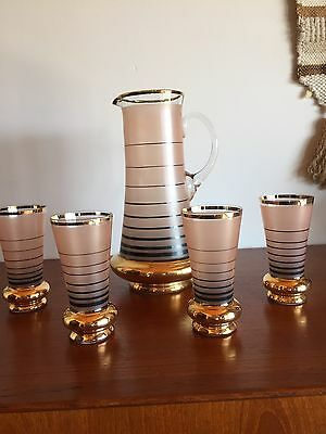 Retro Vintage Glass Water Jug With Four Glasses Set Frosted Pink Gold Black