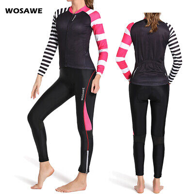 Women's Long Sleeve Cycling Polyester + Spande Jersey and Pant Set Wear Clothing