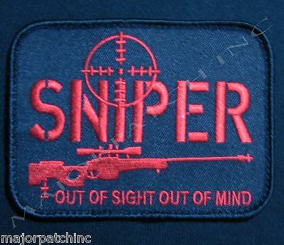 Sniper Out Of Sight Black Ops Red Usa Army Military Tactical Hook Morale Patch