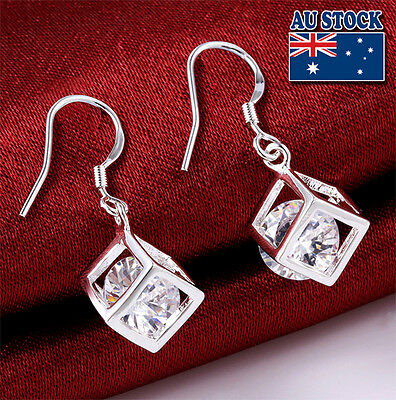 Wholesale 925 Sterling Silver Filled Solid Drop Earrings With SWAROVSKI Crystal