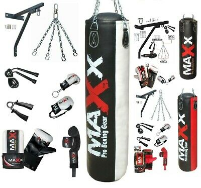 Maxx 3ft 4ft 5ft 15Piece Boxing Set Filled Heavy Gloves Punch Bag Bracket Chains