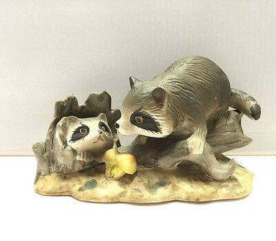Raccoon Family Porcelain Figurine Hand Painted Handcrafted 1997 GEI, China
