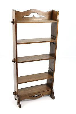 Antique Arts and Crafts Narrow Oak Open Bookcase Display Shelf - Peg jointed