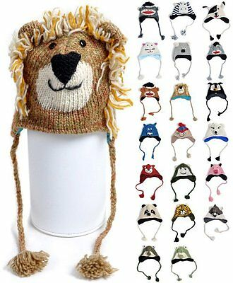 'Hat-imals' Hand-Knit 100% Wool Animal Winter Hats Set 2 (AHW)