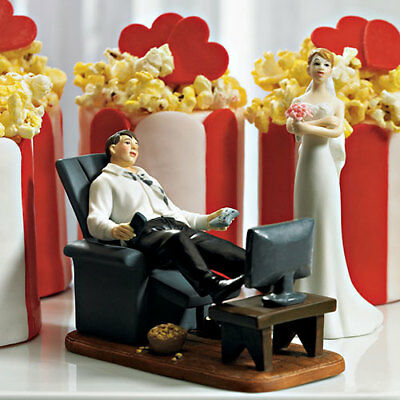 Couch Potato Groom and Exasperated Bride Funny Wedding Cake Topper
